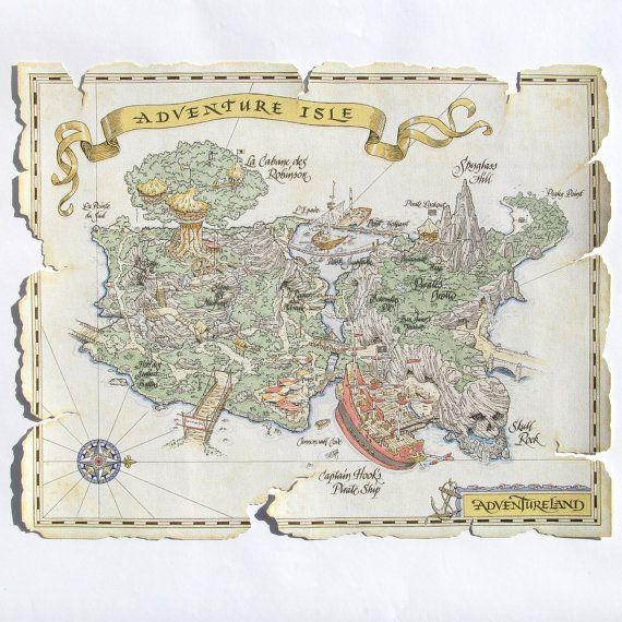 Map of Disneyland Paris Adventure Isle, Matte Canvas Print, Home Decor Canvas…