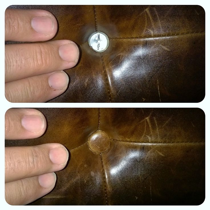 I had to install a new leather button cover to replace one missing from cafe seating in a local restaurant. The new leather button was crafted by hand using a leather sample that closely matched the original.