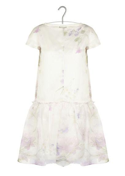 Robe Babydoll en organza de soie imprimée  Beige by CACHAREL