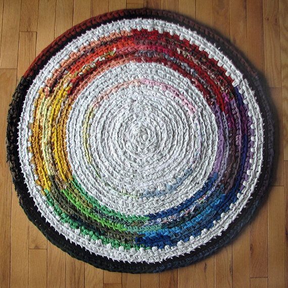 41 Color Wheel Crocheted Round Rag Rug By Elevensides On