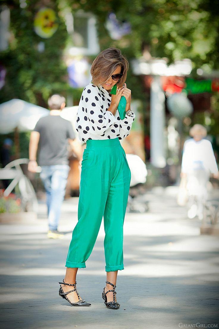 polka dots blouse Asos and Valentino Rockstud ballerina Flats by GalantGirl.com