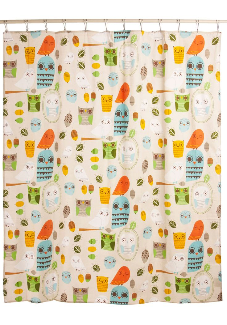 Shower Power Shower Curtain in Owl Clean. Sure, the functional purpose of a powder room is for grooming and making ourselves look our best, but sometimes the space itself could use a little primping and preening! #multi #modcloth