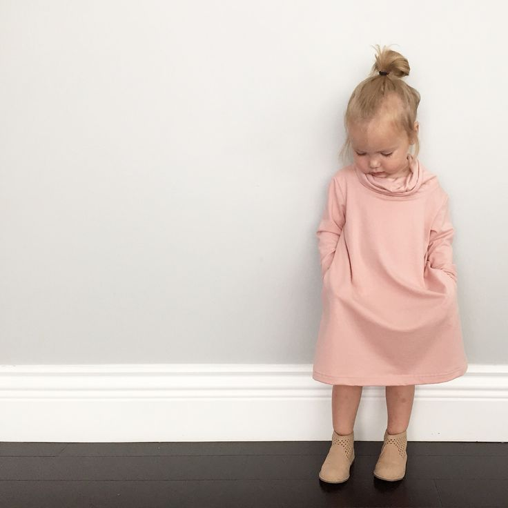 Bamboo infant/toddler dress in rose pink with pockets and loose neck