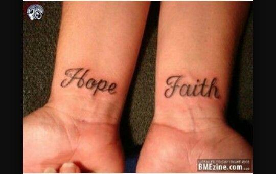 Hope and Faith wrist tattoo