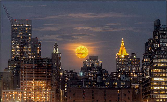 Super Moon 2013 Over NYC - From Weehawken NJ