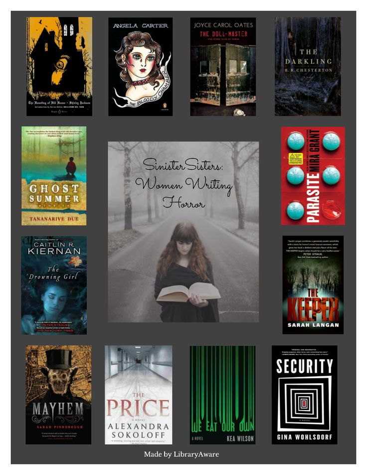 """Sinister Sisters: Women Writing Horror is one of LibraryAware's newest print templates. These are great to post on a book display or hang in your library to create visual interest. Search """"Sinister"""" in the Flyers-Books section. Remember you can easily swap books if you have your own favorites."""