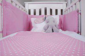Pink & White Baby Spots range of cot linen from www.tomandbella.co.za