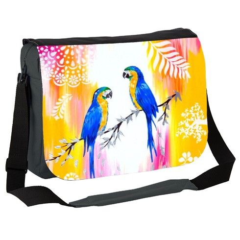 Macaws and Happiness Messenger Bag by markadrian at zippi.co.uk