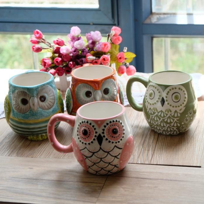 Lovely New Life Cute Porcelain Ceramic Owl Mugs 4 Styles Colors