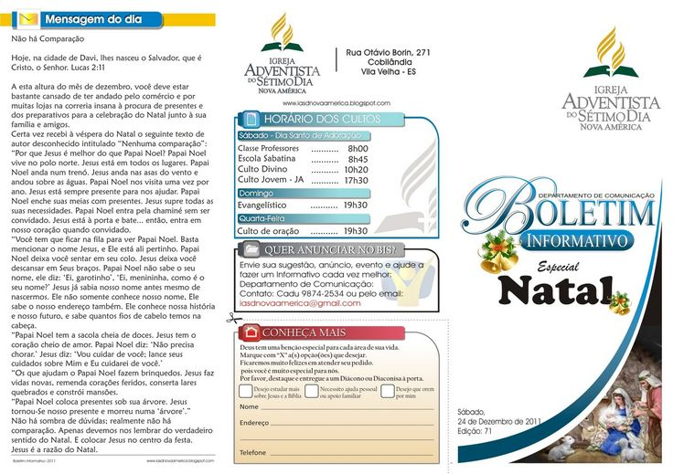 Igreja Adventista do Sétimo Dia em Nova América: BIS - Boletim Informativo Semanal 24 de Dezembro Edição:71