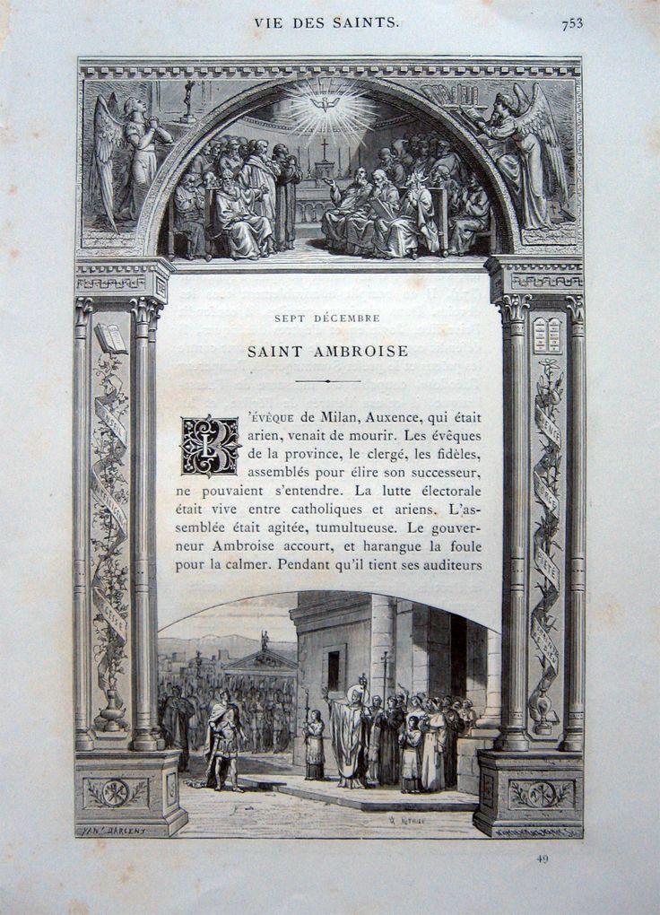 GUERIN P.  Saint Ambroise. Stralcio, 1887. In 4° (mm.275x185), pp.2. Testo completamente racchiuso da ricche decorazioni e scene della vita del Santo inc. in xil. da disegni di Yan d'Argent.