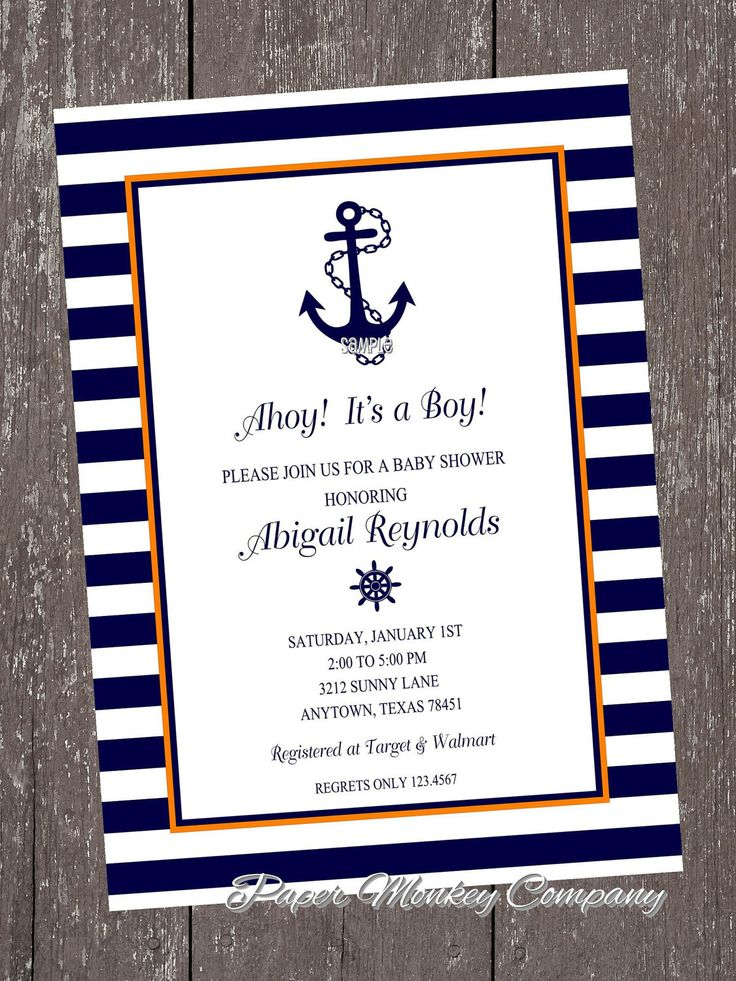 Orange and Navy Nautical Anchor Invitations with FREE Matching Return Address Labels. $1.00, via Etsy.