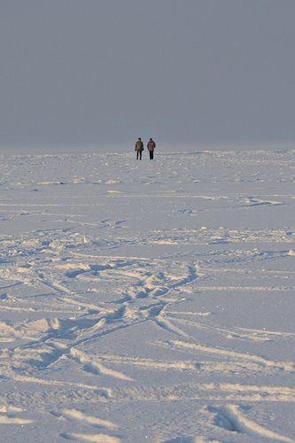 far out- frozen Lake Balaton