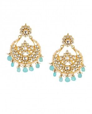 Crescent Kundan Earrings with Aqua Drops