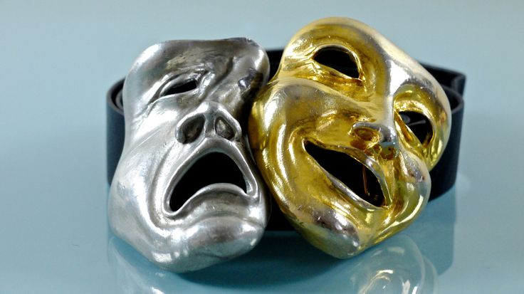 Gold Comedy And Silver Tragedy Mask Christopher Ross