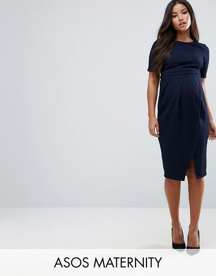 ASOS Maternity Double Layer Textured Smart Dress - Navy