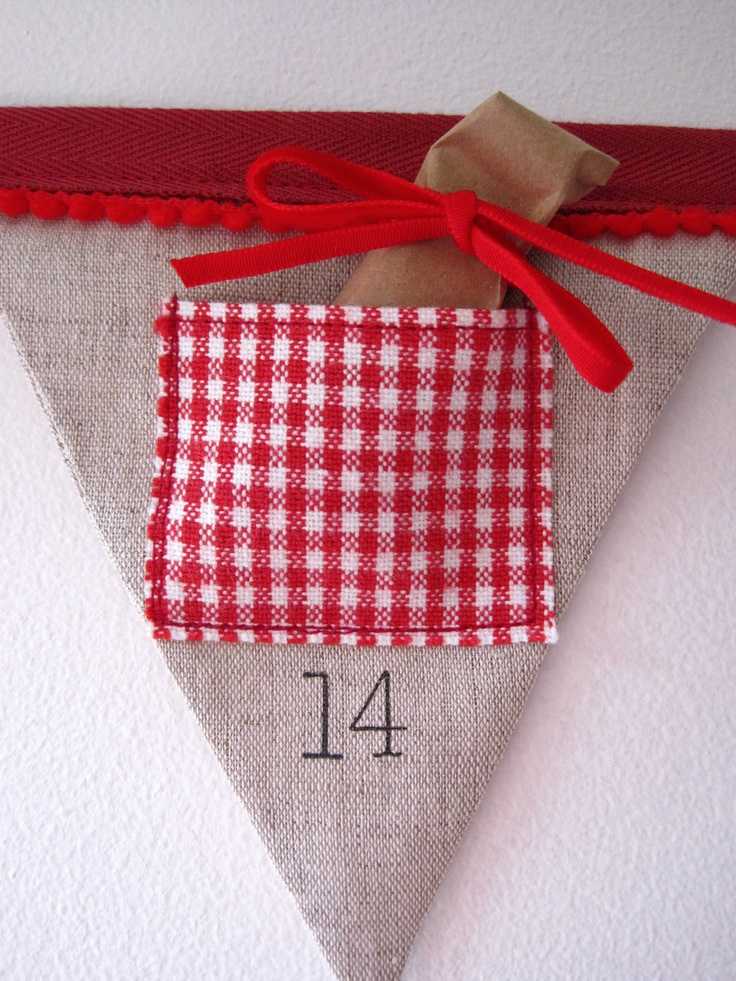 SALE - Bunting advent calendar for Christmas holidays - save 10 pounds  Linen & red gingham with 24 pocket flags LAST ONE and ready to ship. £49.90, via Etsy.