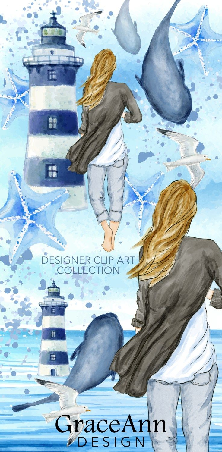 Beach Walk - Fashion Clip Art, Soft blues and seaside imagery come together in this dreamy collection! Visit FiftyJewels.com to see the entire kit. #clipart #fashion #beach #watercolor #ocean #watercolors #craft #crafts