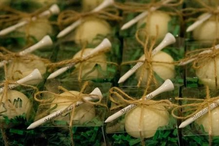 Tee up golf themed wedding favors.  See more golf wedding favor ideas at one-stop-party-ideas.com