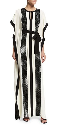 St. John Collection Guipure-Lace Belted Crepe Kaftan