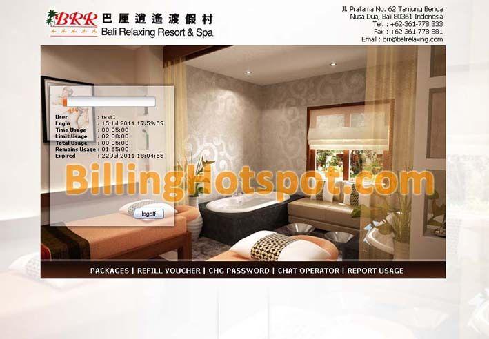Tampilan loginpage hotspot pada software Billing Hotspot Hotel untuk Bali Relaxing Resort & Spa di Nusa Dua, Bali, Indonesia