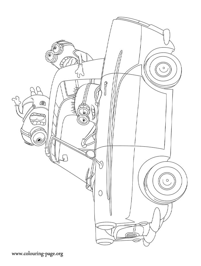In this awesome picture, the minions are driving around. Have fun with this Despicable Me 2 movie coloring page!