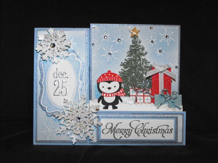 Stampin Up No Peeking, Christmas Lodge, More Merry Messages, Tags Til Christmas and Serene Snowflakes. I designed this card for our Christmas in July contest and won.