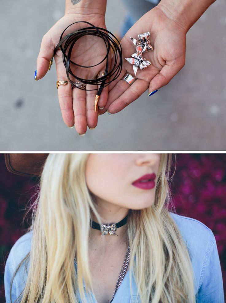 Clip-on Earring Choker | Who would have thought that combining some earrings with a necklace would make the cutest, easy DIY jewelry look?!