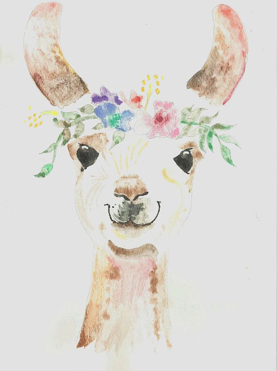 Princess Llama Watercolor Painting Print 16 X 20 Children
