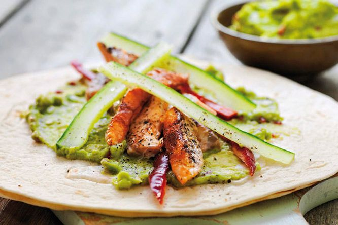 Wrap med laks og guacamole