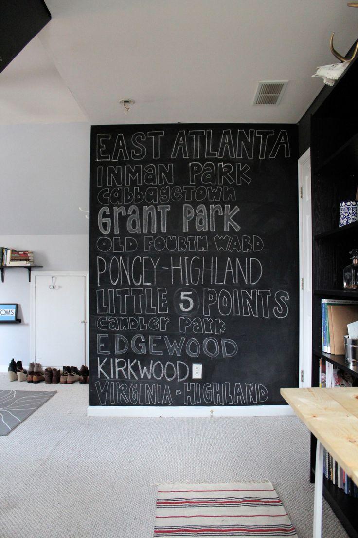Atlanta neighborhoods chalk board.   Love this chalkboard wall!