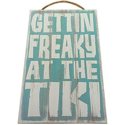 Gettin Freaky At The Tiki Vintage Wood Sign For Tiki Bar Wall Decor Or Gift -- PERFECT TIKI BAR DECOR!