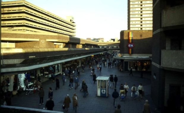 The Market Place in 1984 - four years before the roof was popped on The Bridges.