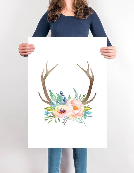 Watercolor Antlers and flowers print Printable by SouthPacific