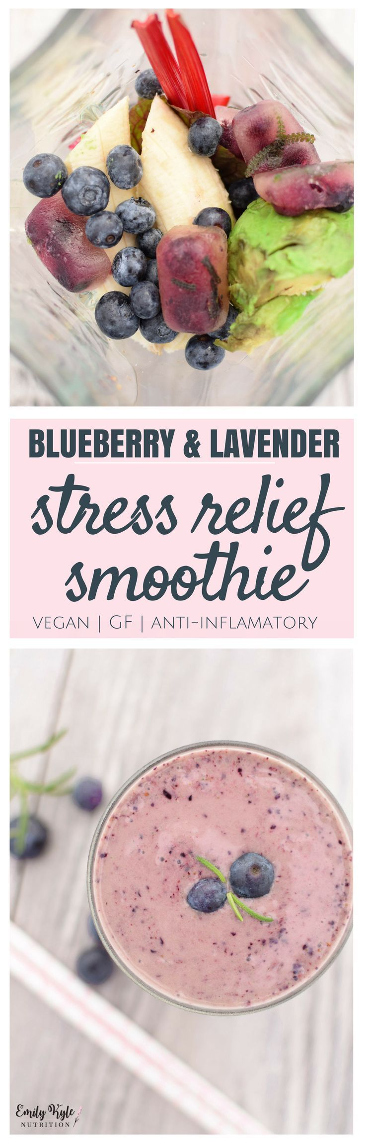Combined together in this tasty smoothie, these plant based ingredients are the ultimate holistic cure for stress relief. via @EmKyleNutrition