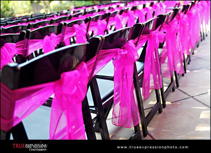 Chairs & bows: Pink Wedding, Pink Ribbons, Chairs Decor, Pink Bows, Pink Chairs, Hot Pink, Chairs Ideas, Wedding Chairs, Chairs Covers