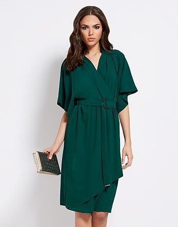 Womens bottle green star by julien macdonald crepe kimono dress from Lipsy - £55 at ClothingByColour.com