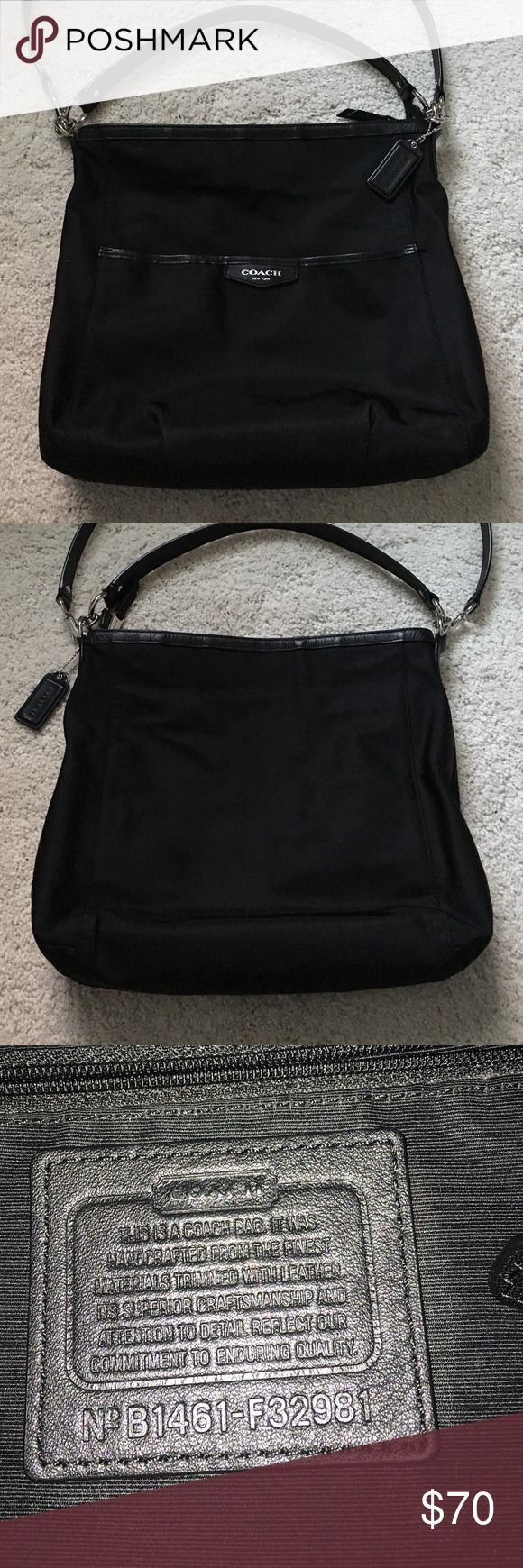 Authentic Coach purse Authentic, black Coach purse. Has short and long strap. Gently used, great condition. Inside and outside of purse clean and in great condition. No rips or tears in fabric. Leather on purse and straps in great condition. Coach Bags