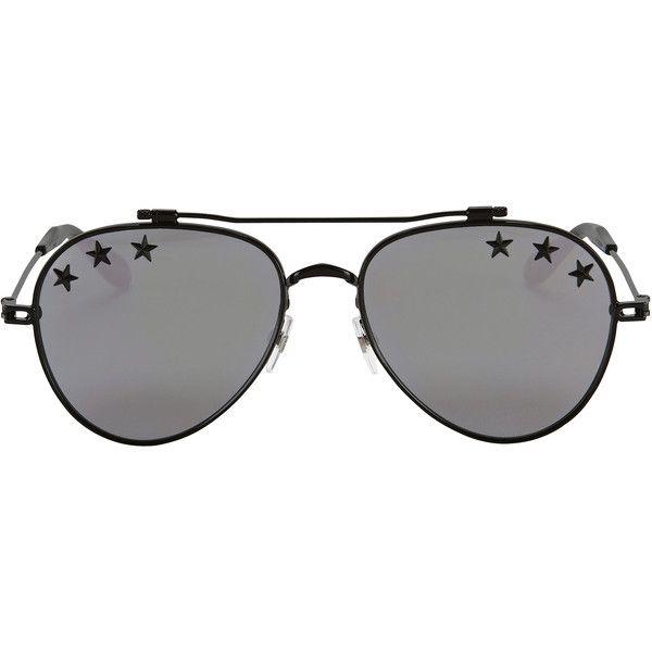 Silver Mirror Star Aviator Sunglasses ($400) ❤ liked on Polyvore featuring accessories, eyewear, sunglasses, metallic, aviator sunglasses, mirror lens aviators, mirror lens sunglasses, mirrored sunglasses and mirrored aviators