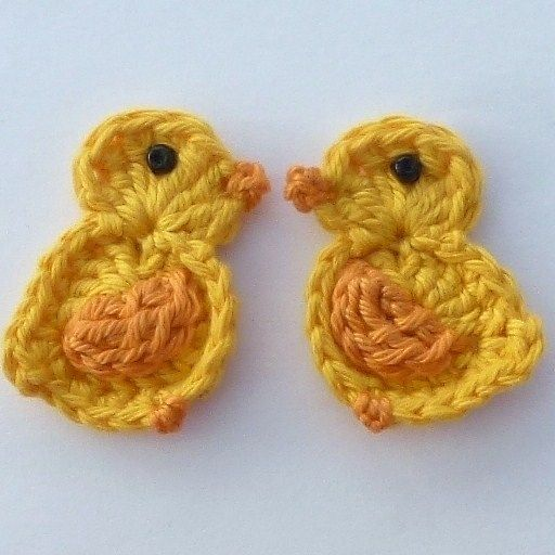 2 Large gold Easter chicks crochet appliques £3.00