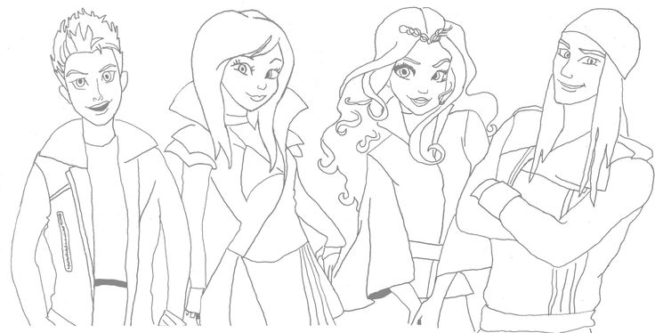 i could not find any coloring sheets for descendants so i traced a photo im not an artist just a mom tired of her kids yelling at her