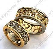 Широкие обручальные кольца из комбинированного золота с растительным орнаментом и бриллиантами на заказ