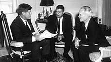 Whitney Young sitting in Oval Office with John F. Kennedy--amazing program on Independent Lens about Whitney Young, a man I wish I had heard about when I was growing up, what an amazing life! http://www.pbs.org/independentlens/powerbroker/