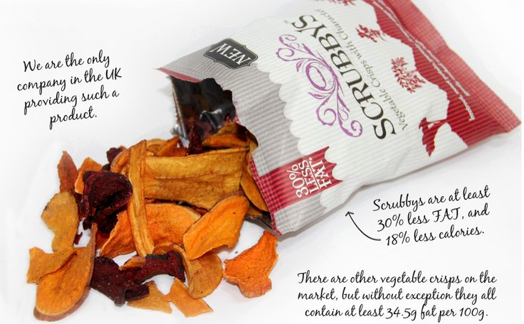 Scrubbys - Lots of taste in our vegetable crisps - found the perfect dip yet? - so good, they have 30% less fat than other crisps - where did you find your packet?