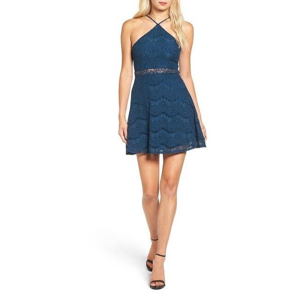 Women's Dee Elle Lace High Neck Skater Dress ($54) ❤ liked on Polyvore featuring dresses, navy, lace fit and flare dress, skater dress, navy blue lace dress, navy blue dresses and white fit-and-flare dresses