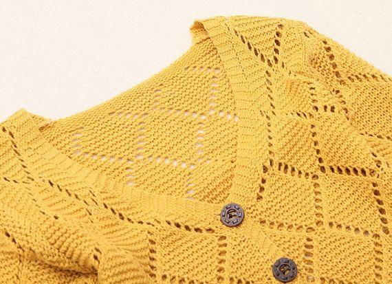 Mavi / Sarı Örgü V yaka dimi hırka --- kadın hırka - SW011