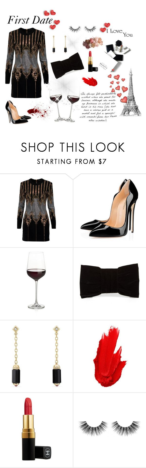 """""""#36-First date"""" by renata-msantos ❤ liked on Polyvore featuring H&M, Balmain, Crate and Barrel, Shiraleah, David Yurman, Maybelline, Chanel, Velour Lashes, Sigma and WALL"""
