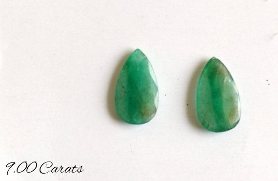 9 Carats Natural Emerald loose Faceted Gemstone Pear by colorvilla