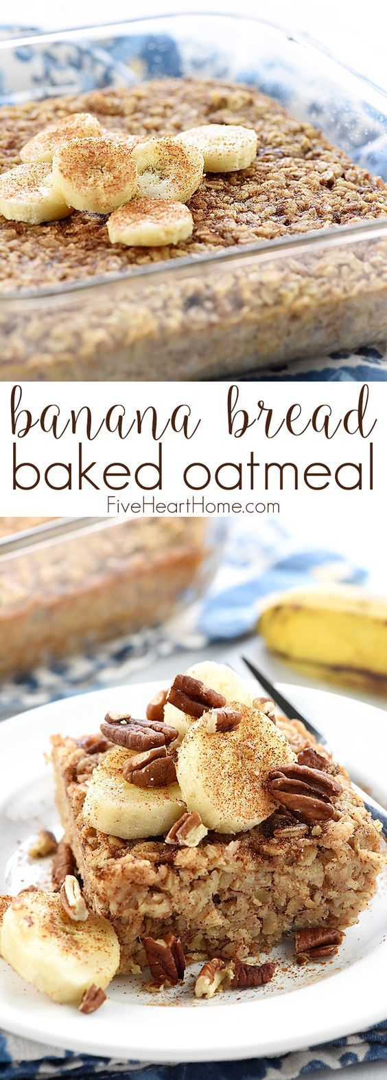 Banana Bread Baked Oatmeal ~ boasts the delicious flavor of banana bread, but it's made with wholesome oats, pecans, and coconut oil for a healthy, filling breakfast or brunch recipe! | http://FiveHeartHome.com