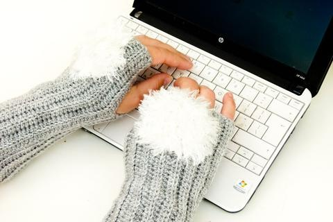 Grey Fingerless Gloves White Faux Fur Snowball. Crochet Wrist Arm Warmer Mittens. Winter Accessories. Christmas Gift Idea For Her